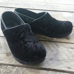 Dansko black crushed velvet clogs